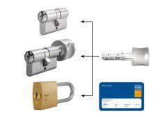 System master key na bazie wkładek Winkhaus N-tra (30/30x10, po 3 klucze indywidualne , 3 klucze master) nikiel