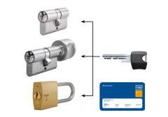 System master key na bazie wkładek Winkhaus RPS (30/30x10, po 3 klucze indywidualne, 3 klucze master) nikiel