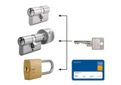 System master key na bazie wkładek Winkhaus VS (30/30x10, po 3 klucze indywidualne, 3 klucze master) nikiel