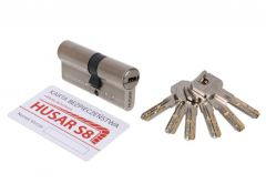 Wkładka bębenkowa atestowana HUSAR S8 35/35 nikiel satyna kl. C, 6 kluczy
