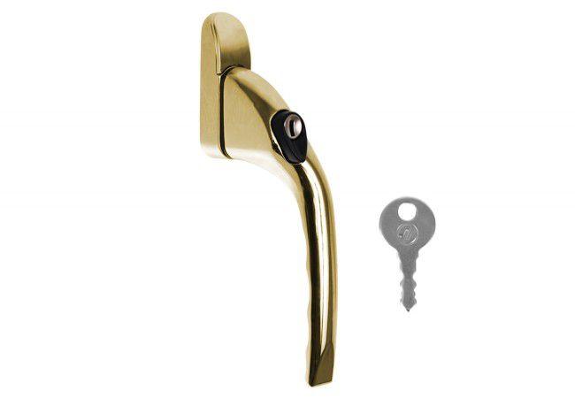 Klameczka okienna 40 mm z kluczykiem złota z odgiętą rączką prawa (do okien rozwiernych)