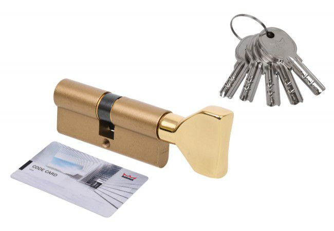 Wkładka bębenkowa DORMA DEC 260 30G/30,  z gałką trójkątną mosiądz,  5 kluczy, (atest kl. 5.1 B)