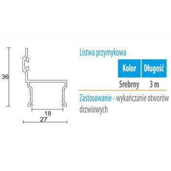 Profil WC 01L przymykowy (gr. płyty 18 mm )  -3m aluminium anoda