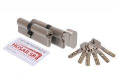 Komplet wkładek atestowanych HUSAR S8 30/50 + 30G/50, nikiel satyna, kl.C, 6 kluczy
