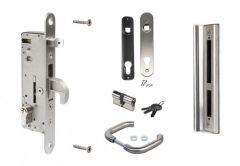 Zestaw Locinox do bram i furtek: zamek wpuszczany H-Metal 92/35 INOX, zaczep, klamka INOX, wkładka bębenkowa 27/27