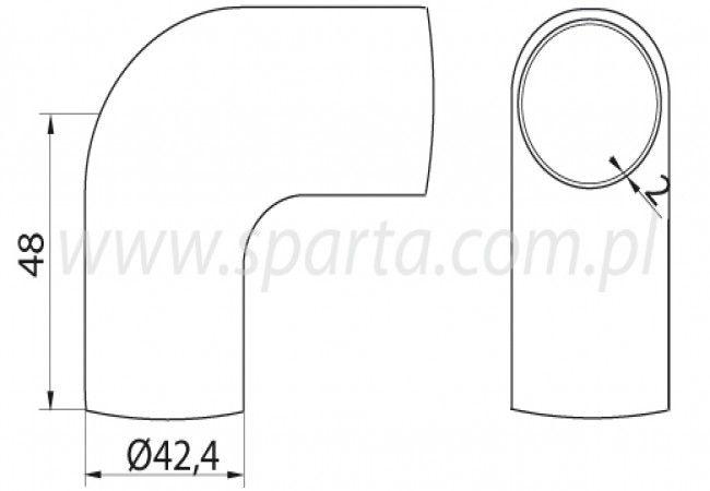 (9) Kolanko 90st. obłe do wspawania w rurę D=42,4x2 mm, nierdzewne AISI304 (A/1305-242)