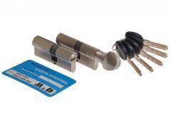 Kpl. wkładek MD WA 30/40 +30g/40 nikiel z gałką 5 kluczy