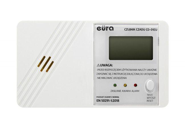 Czujnik czadu EURA CD-01EU wyświetlacz  LCD zaś. bater. 7 lat gwar. (made in Poland)