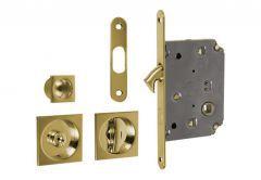 Zamek do drzwi przesuwnych + uchwyty kwadratowe WC złoty