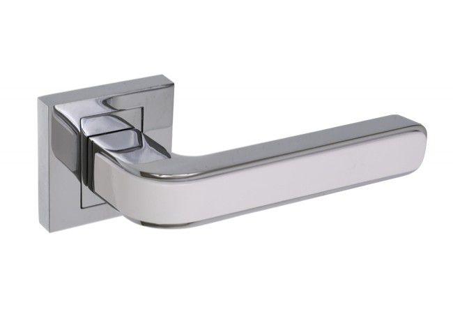 Klamka z tarczką kwadratową B-Harko Nigra, chrom/biała