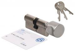 Wkładka bębenkowa CES PSM 40G/50 z gałką nikiel , atest kl. 6.D, 3 klucze nacinane