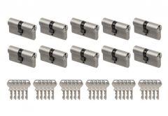 System wkładek GEGE Ap1500 otwieranych wspólnym kluczem - na 1 klucz (10 wkładek 30/30, łącznie 30 kluczy), nikiel , klasa 4 D