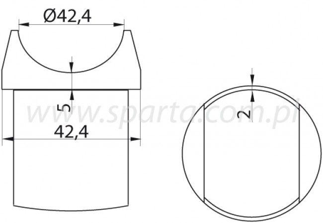 (8) Podpora poręczy przykręcana na rurę D=42,4x2 mm, nierdzewna AISI304 (A/0727-242)