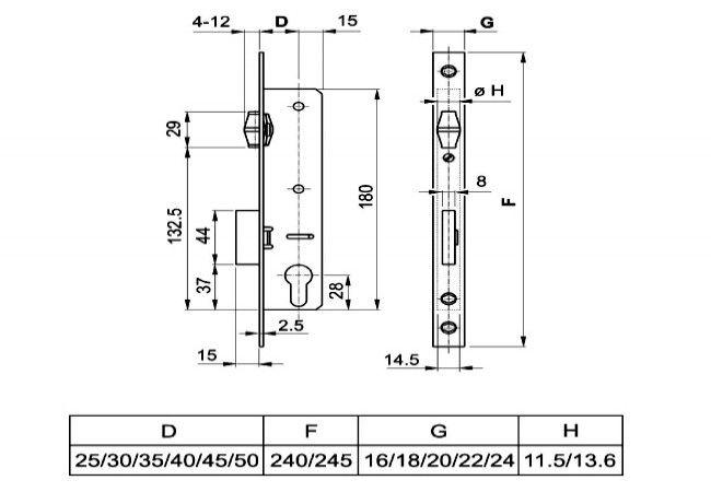 Zamek EUROPORTAL rolka 35/16/240 ocynk(kpl.)