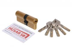 Wkładka bębenkowa atestowana HUSAR S8 30/35 mosiądz kl. C, 6 kluczy