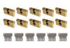 System wkładek B-Harko H6 otwieranych wspólnym kluczem - na 1 klucz (10 wkładek 30/30, łącznie 30 kluczy), mosiądz
