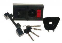 Zamek Gerda TYTAN ZE-1 ZP grafit z elem. mocującymi, 4 klucze, atest kl. C,( do prawych drzwi otwieranych na zewnątrz) z alarmem