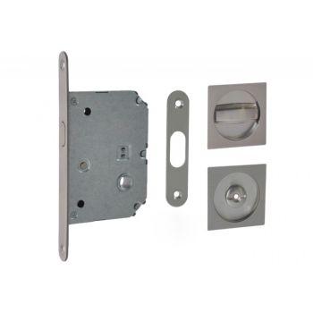 Zamek WC do drzwi przesuwnych z uchwytem kwadratowym 55x55 mm. satyna