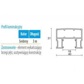 Profil WC 05 konstrukcyjny (gr. płyty 18 mm )  -3m aluminium anoda