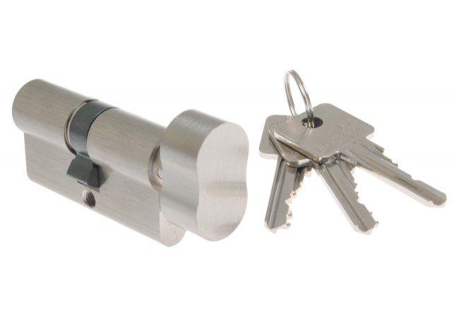 Wkładka bębenkowa B-Harko H6 30g/40 mm nikiel satyna z gałką 6-zastawkowa klucz  kl.6.