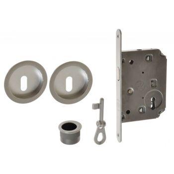 Zamek do drzwi przesuwnych + uchwyty okrągłe z kluczykiem łamanym chrom matowy