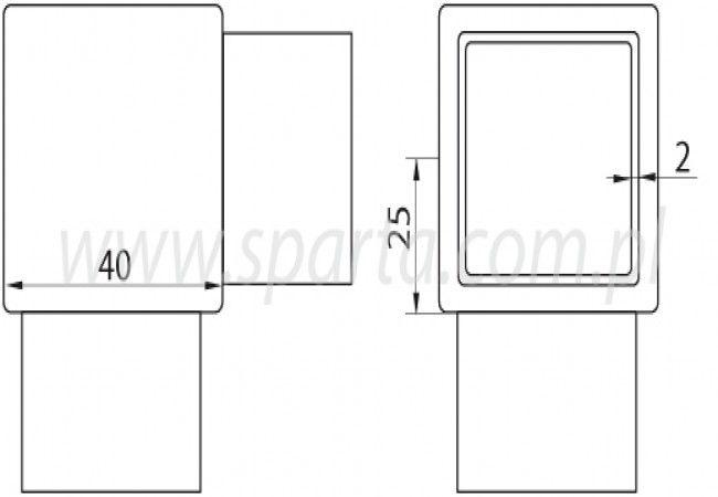 (29) Kolanko 90st. wklejane profilu 40x40x2 mm,nierdzewne AISI304