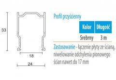 Profil WC 01G przyścienny (gr. płyty 18 mm) -3m aluminium anoda