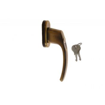 Klamka 15852 L-35 patyna/mosiądz z kluczykiem podstawa owalna