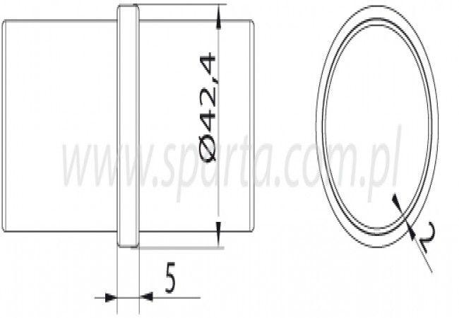 (7) Łącznik rury D=42,4x2 mm, AISI304