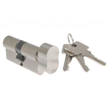 Wkładka bębenkowa B-Harko H6 35g/25 mm nikiel satyna z gałką 6-zastawkowa klucz kl.6