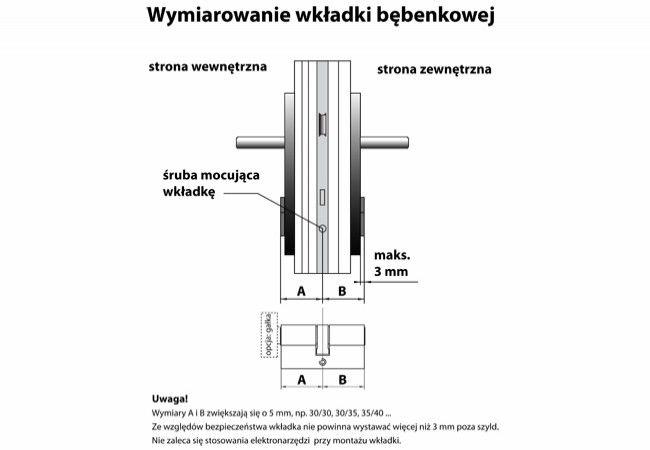 Wkładka bębenkowa B-Harko H6 35/40 mm nikiel satyna 6-zastawkowa kl.6.0