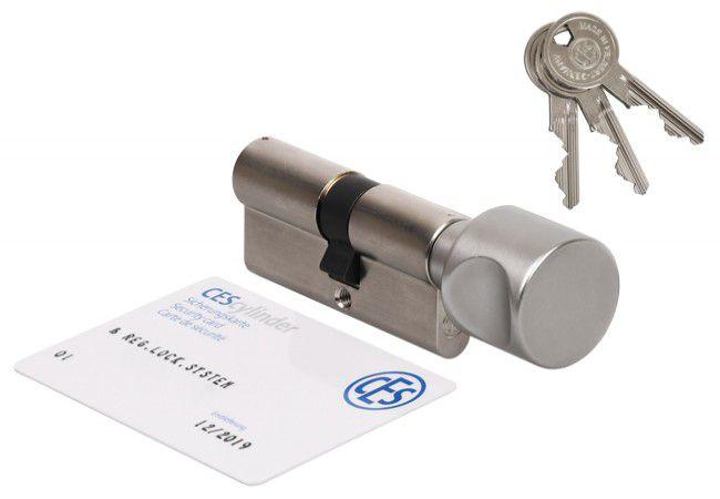 Wkładka bębenkowa CES PSM 30G/30 z gałką nikiel , atest kl. 6.D, 3 klucze nacinane