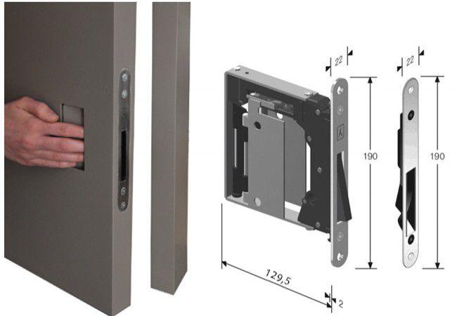Zamek wpuszczany B-NO.HA z płytką otwierającą - montaż bez klamki