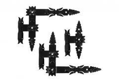 Kpl. zawias (3szt.) kutych łożyskowanych 400x320x50 czarny z hakami lewy