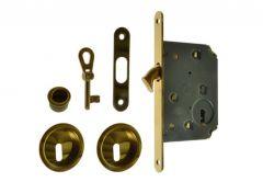 Zamek do drzwi przesuwnych + uchwyty okrągłe z kluczykiem łamanym złoty