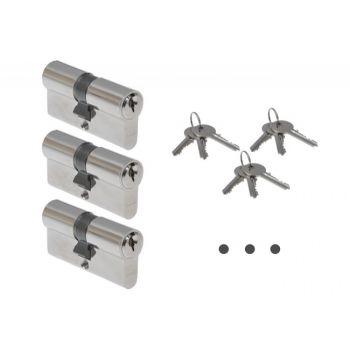 Wkładka ABUS E45N 30/40 nikiel KA01 w systemie jednego klucza ,(3 klucze do każdej wkładki)