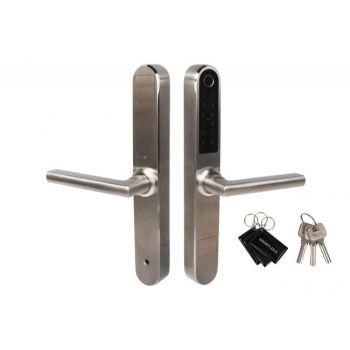 Klamka elektroniczna BH-31B, szyld wąski 280x38 mm, stal nierdzewna (odcisk palca+aplikacja+Bluetooth+karta+PIN)