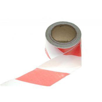Taśma ostrzegawcza biało-czerwona, szerokość 7,5cm, długość 100mb