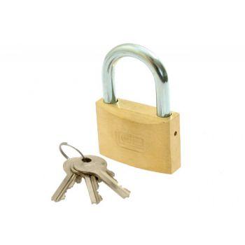 Kłódka LOB mosiężna zasuwkowa KM 50, 3 klucze (małe)