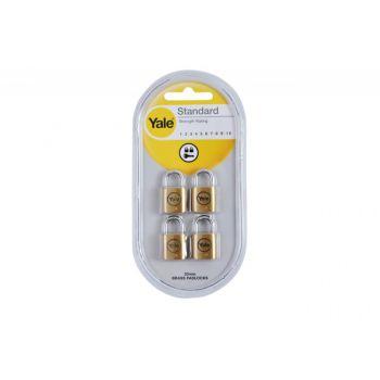 Zestaw 4 kłódek YALE w systemie 1-klucza 20 mm. mosiądz