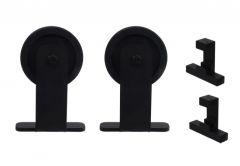 Komplet złączek Modi do systemu drzwi przesuwnych Mantion Roc Design (skrzydło: max.100 kg, max.szer. 1250 mm, max. gr. 30-42 mm), rolka pełna, czarny