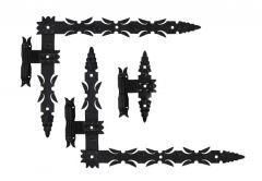 Kpl. (szt.) zawias kutych łożyskowanych 600x460x50 czarny z hakami lewy