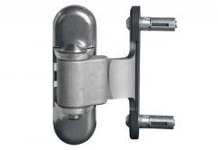 Zawias inox do bram i furtek metalowych (2 szt.). Wyposażony w śruby Quick-Fix. Możliwość regulacji góra - dół, w lewo - w prawo, kierunek obrotu. Dos