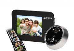 Elektroniczny wizjer do drzwi z dzwonkiem i funkcją nagrywania ORNO- nagrywanie po wciśnięciu przycisku dzwonka