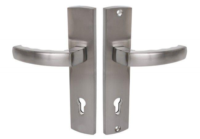 Klamka do drzwi zewnętrznych Heros 72WB, nikiel satyna, lewa