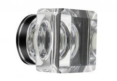 Gałka meblowa LEA kwadratowa (35x35 mm) kryształ, biała