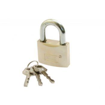 Kłódka LOB mosiężna-satyna KMD60 zasuwkowa dysk. hartowany pałąk, 3 klucze