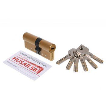 Wkładka bębenkowa atestowana HUSAR S8 40/40 mosiądz kl. C, 6 kluczy
