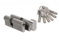 Komplet wkładek B-Harko DR STRONG 45/30 + 45G/30 nikiel satyna, 6 kluczy nawiercanych