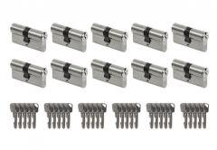 System wkładek LOB Ares otwieranych wspólnym kluczem - na 1 klucz (10 wkładek 30/30, łącznie 30 kluczy), nikiel
